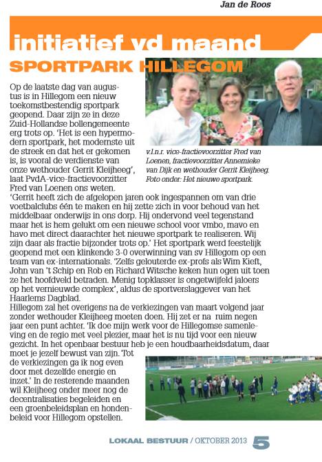 initiatief van de maand lokaal bestuur PvdA Hillegom