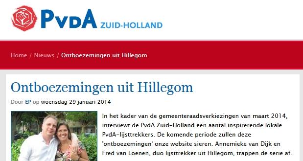 PvdA Hillegom provincie annemieke van dijk fred van loenen